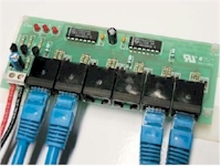 IR Extender Distribution Hub From Blue Eye. Supplied as a circuit board with stick-on mounting feet.
